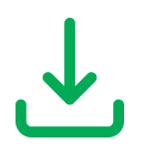 A green download icon showing an arrow pointing downwards.