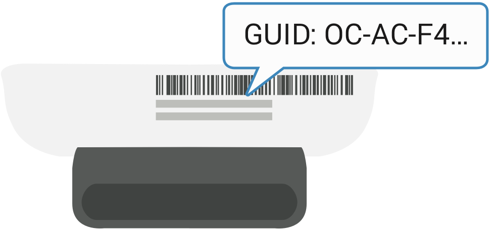 An illustration showing the device ID or GUID as a long series of digits