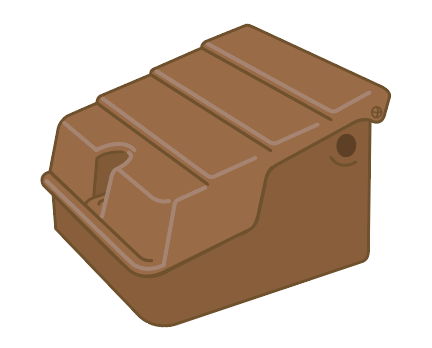 A semi-concealed meter with a brown, sloped lid.