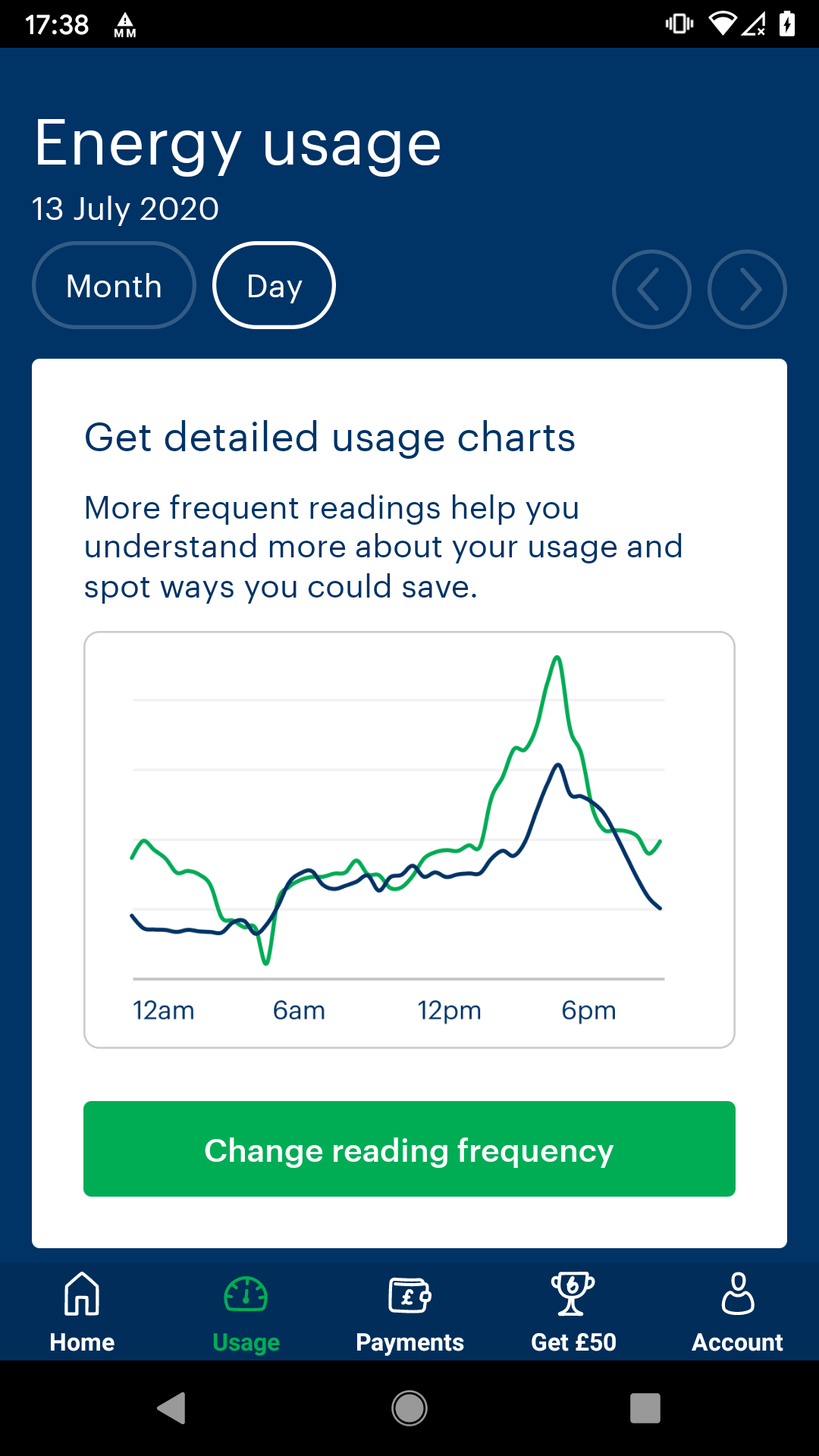 An example of a line graph in the app, with a button below prompting you to 'Change reading frequency'.