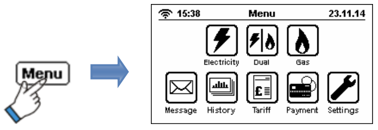A menu of options, with buttons along the top for 'Electricity' 'Dual' and 'Gas', and 'Message', 'History', 'Tariff', 'Payment', and 'Settings' buttons along the bottom.